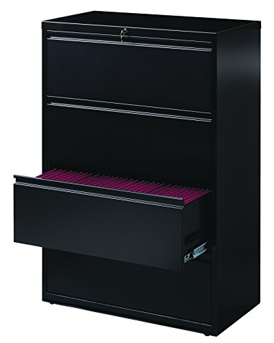 Office Dimensions Commercial 4-Drawer Lateral File with Full Width Pull, 36-Inch Wide, Black