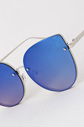 Women's High Fashion Retro Sunglasses Shades Cat Eye Bar Mirrored Lens Frame - Sunglasses Doc Brown