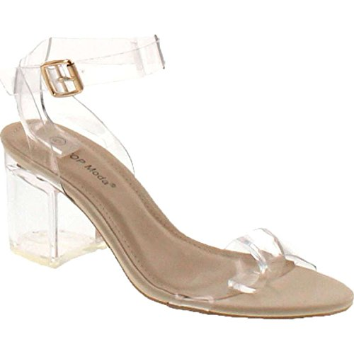 Top Moda Womens Ivan-1 Lucite Clear Strappy Block Chunky High Heel Open Peep Toe Sandal,Beige,10 for $<!--$32.90-->