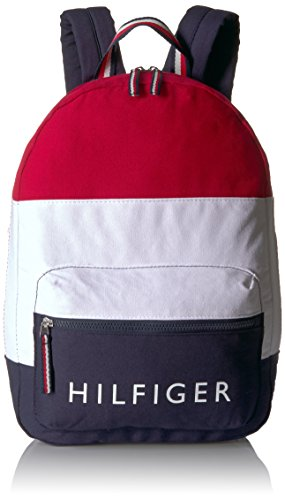 Tommy Hilfiger Women's Backpack Patriot Colorblock Canvas, Navy/Red/White
