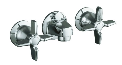KOHLER K-8040-3A-CP Triton Shelf-Back Lavatory Faucet, Polished Chrome (Lavatory Mount Wall Cross Faucet)