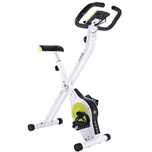 Cheap Xspec Foldable Stationary Upright Exercise Bike Magnetic Cardio Workout Indoor Cycling, Lime Green, Monitor with Phone/Tablet Holder, Heart Rate Pulse Sensor