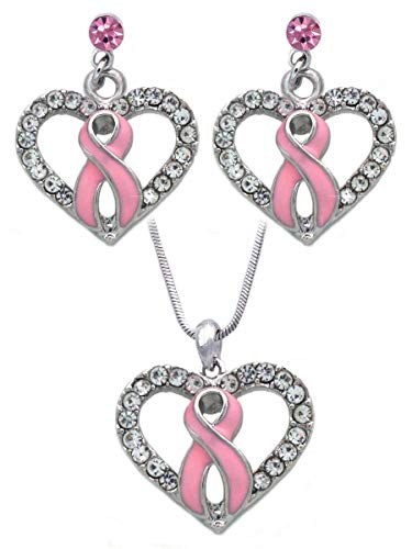 cocojewelry Pink Ribbon Breast Cancer Awareness Boxing Glove Heart Necklace Earrings Set (Clear Heart Pink Post Set)]()