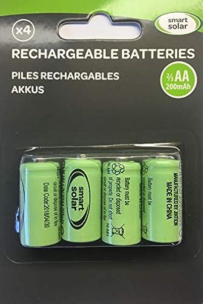 Lote de 4 pilas recargables 2/3 AA 10 mAh para productos solares: Amazon.es: Jardín