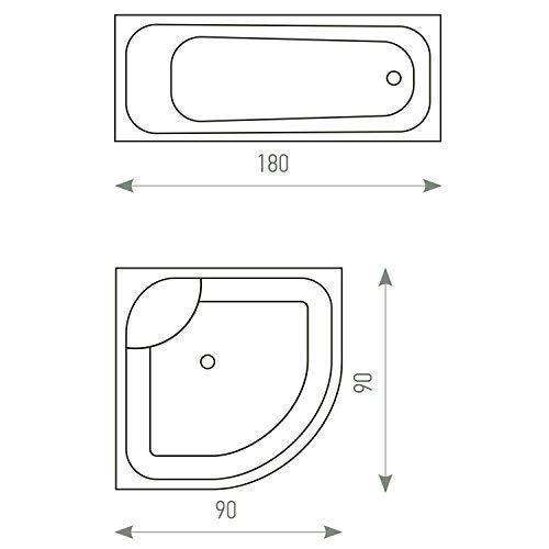 Tatkraft Mosaic Cortina de ba/ño Peva 180X180cm con 12 Anillas 100/% Impermeable Resistente al Moho