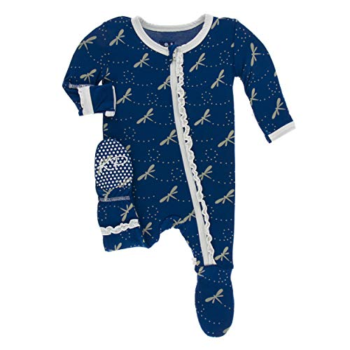 Kickee Pants Little Girls Print Muffin Ruffle Footie Zipper - Navy Dragonfly, 18-24 Months -