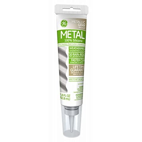General Electric GE285 Aluminum and Metal Silicone II Caulk, 2.8-Ounce,Metallic Grey (Caulk Grey)