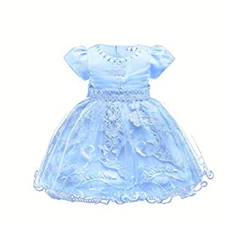 lcky 2-8T Flower Girls Princess Dresses for Party Birthday Pageant Ball Gowns(Blue 6M)