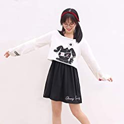 Girls Dresses Kawaii Rabbit Print 2 Pieces Japanese Fancy Dress Black White Cotton Amazon choices fit