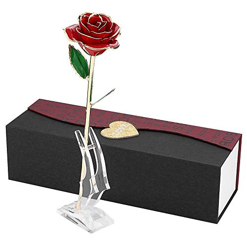 24k Gold Rose Flowers Artificial Red Rose with Gift Box and Transparent Stand, Mother's Day, Anniversary, Birthday, Gift for Sister Friend, for Decoration Preserved Forever (Best Anniversary Gifts For Sister)