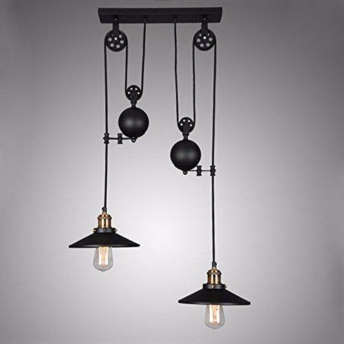 (Adjustable Height Pulldown Island Pendant Retro Industrial Light lamp Chandelier,2-Light)