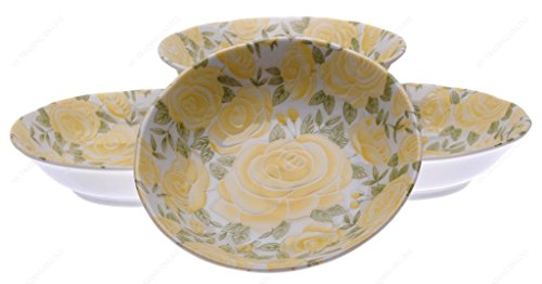 M.V. Trading MV0314B28 Japanese Deep Soup Plate with Yellow Rose Design, 6½-Inch, Set of (Yellow Rose Dinner Plate)