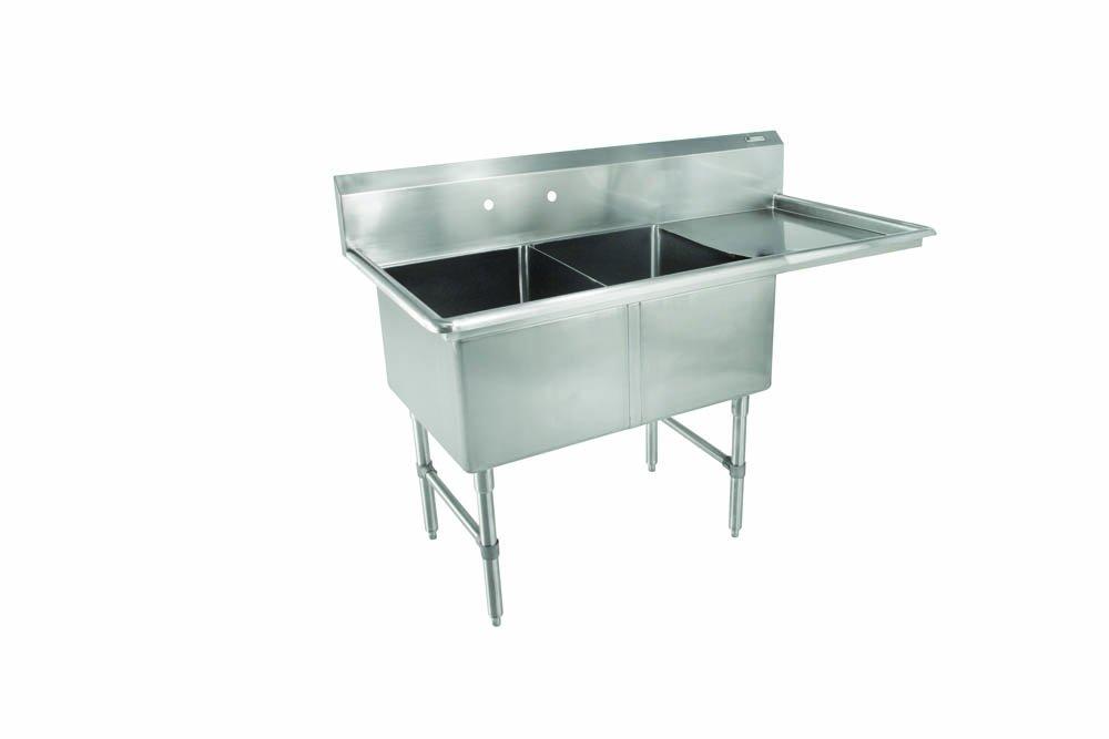 John Boos 2B184-1D18R B Series 2 Compartment Stainless Steel Sink, 18'' Right Hand Drain Board, 18'' x 18'' x 14'' Bowl