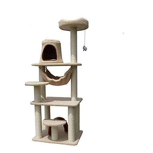 LYgMV 猫登山フレーム猫トイレ砂猫ジャンプ台サイザル柱大きな猫家具 (Color : ピンク) B07Q2QSV8K カーキ  カーキ