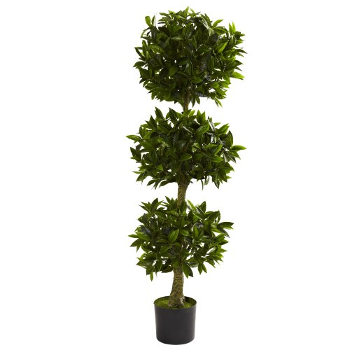 Nearly Natural 5381 Triple Bay Leaf Topiary UV Resistant Tree, 5-Feet, Green