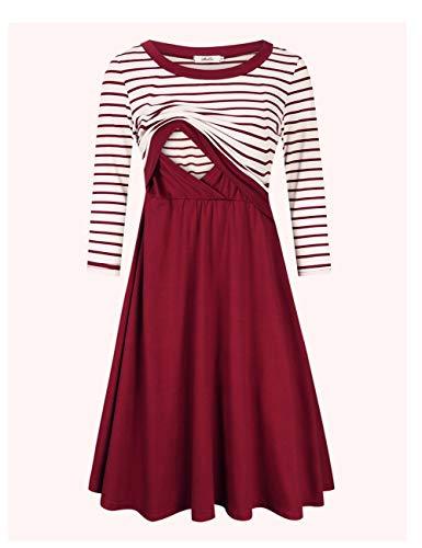 MissQee Maternity Dress Women's Stripe 3/4 Sleeve Nursing Dress for Breastfeeding Burgundy L by MissQee