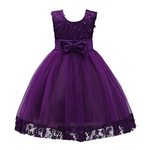 (IBTOM CASTLE 1-9 Years Big Little Girl Pink Flower Girl Dresses Deep Purple 6)