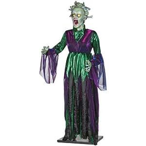 Spooky Hollow Medusa con sonido de tamaño de vida animada de 1,52 m de alto, con luz de ojos y movimiento de serpiente.
