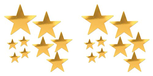 (Beistle 53306-GD 18 Piece Foil Star Cutouts in Assorted Sizes, Gold)
