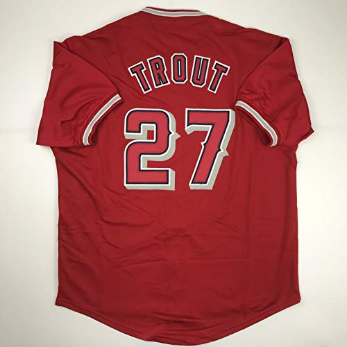 Unsigned Mike Trout Los Angeles Anaheim LA Red Custom Stitched Baseball Jersey Size Men's XL New No Brands/Logos