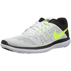 Nike Men's Flex 2016 RN Running Shoe White/Volt/Black Size 9 M US