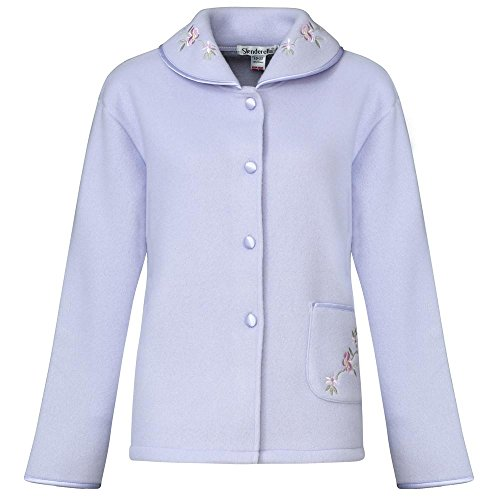 Slenderella Ladies Soft Polar Fleece Button Up Bed Jacket Floral Embroidered  Detail House Coat (Various Colours) 50018007b