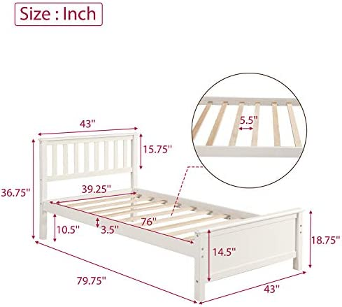 Harper&Bright Designs Wood Platform Bed with Headboard, Footboard, Wood Slat Support, No Box Spring Needed(Twin, White) 41sVEfxukLL