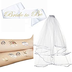 Bridal Shower Set 2 Tier Veil,Bride To Be Satin Sash, Temporary Tattoos for Bachelorette Party Decorations