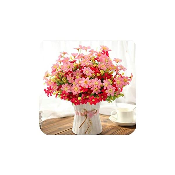 One Set Small Daisy Artificial Flower Silk Sunflower with Rattan Vase Decoration for Home Room Table 13 Type,Pink Daisy