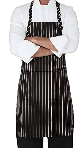 MHF Aprons-2 Piece Pack-Pinstripe 3 Pockets and Adjustable Neck Bib Apron , Black/White Pinstripe