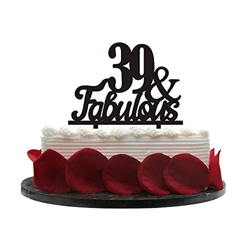 39&Fabulous Birthday Cake Topper | 39th Party Decoration Ideas | Wedding, Birthday, Anniversary, Party Supplies Topper Decoration | Classical Black Acrylic