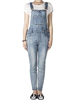 CR Women's Light Blue Pocket Ripped Denim Jumpsuit Overalls