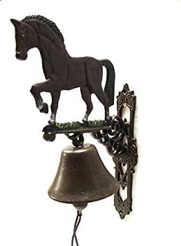 En la pared de la campana Kanana campana para puerta de entrada de casa de caballo montar a caballo de hierro fundido y estilo rústico x 43 cm