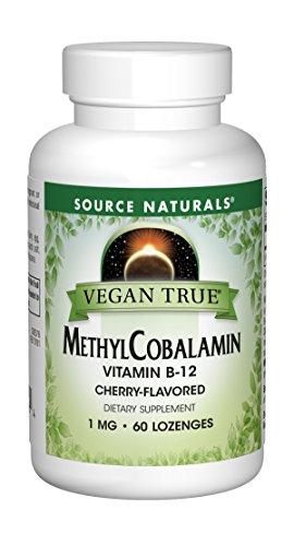 SOURCE NATURALS Vegan True Methyl Cobalamin 1 Mg Cherry Lozenge, 60 Count (Source B-12 Natural Vitamins)