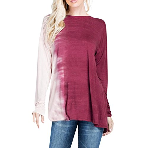 Women Tops, Gillberry Women Long Sleeve Plus Size Patchwork T-Shirt Loose Blouse Casual Tops (Red, - Frames Eyeglass Measuring