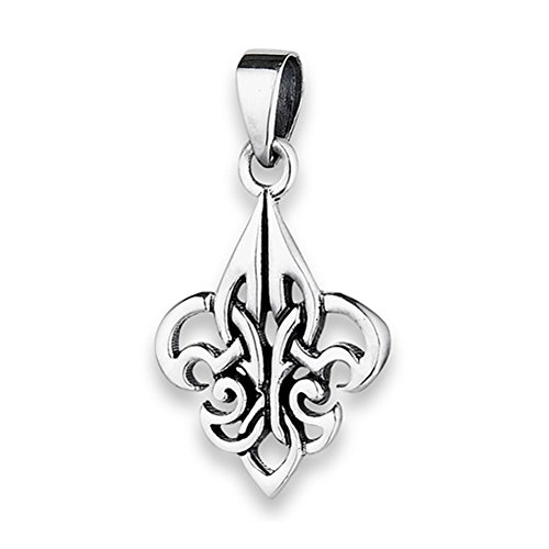 Celtic Fleur De Lis Pendant .925 Sterling Silver Endless Filigree Twisted Charm