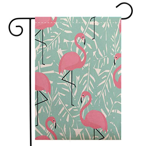 BEIVIVI Creative Home Garden Flag Tropical Seamless Pattern with Flamingos and Mint Green Palm Leaves Garden Flag Waterproof for Party Holiday Home Garden Decor