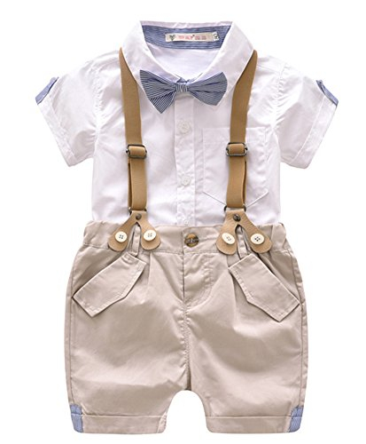 Toddler Baby Boys Gentleman Summer Suits Set Bowtie Shirt Bib Shorts Overalls (White, 100/Fit 3T) -