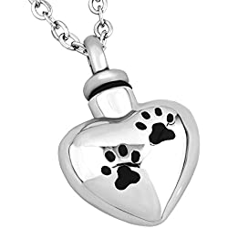 JewelryJo Urn Necklace for Ashes Cremation Keepsake Dog Puppy Cat Kitty Pet Paw Prints Love Heart Pendant