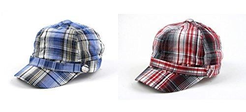 Pop Unisex 3 Button Plaid Cadet Style Cap Hat (2 pcs Blue & Red)