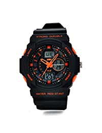 Waterproof Unisex Digital Watch - 30M Water-resistant Dual LED Display (Numeric + Analog) Watch / Fashion Night Vision Watch / Sports Wrist Watchs For Ourdoor Activities,Mountaineering And Swimming - Orange