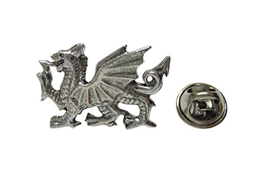 (Kiola Designs Silver Toned Textured Welsh Dragon Lapel Pin)