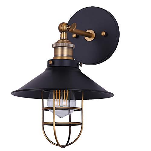 (Marazzo Bathroom Wall Sconce   Antique Brass w/Black Hallway Wall Light with LED Bulb LL-WL61-7SBK)