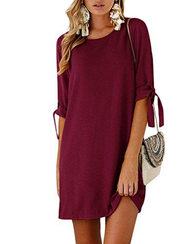 YOINS Women Mini Dresses Summer T Shirt Solid Crew Neck Tunics Self-tie Half Sleeves Blouse Dresses Wine Red XXL (Present Wedding T-shirt)