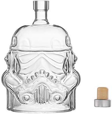 JUSSES - Jarra de whisky creativa transparente para Whisky, Vodka y vino, 1 botella Stormtrooper (750 ml) y Stormtrooper 2 vasos (8,5 x 9,5 x 9 cm)