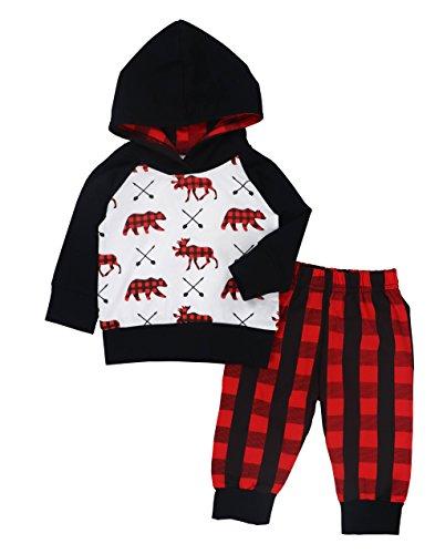 Yiner Valentines Baby Boys Girls Clothes Bear Deer Printed Outfits Hoodie Tops +Red Plaid Long Pants+Hat Set (Bear Black Hooded Sweatshirt)