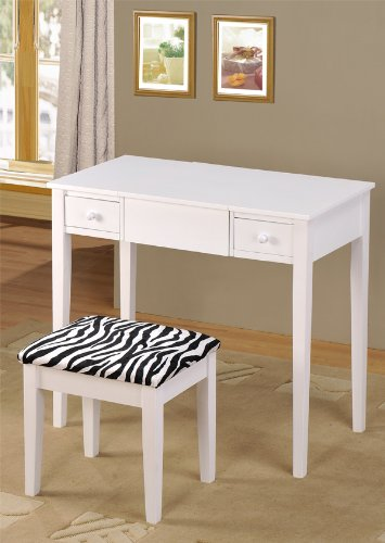 cheap for discount 6d14a 90846 Contemporary Vanity Set with Flip Mirror Top and Zebra Print Stool White  Finish