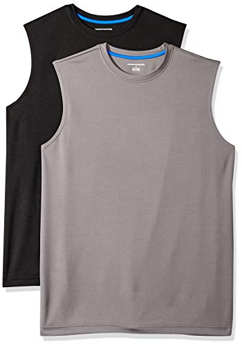 Amazon Essentials Men's 2-Pack Performance Tech Muscle Tank, Black/Dark Grey, Medium