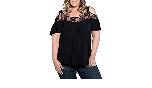 Clearance!Youngh New Womens Blouses Shirts Women Lace Plus Size Blouses Loose Solid Short Sleeve T-shirt O-Neck Summer Fashion Shirts Tops: Amazon.com: ...