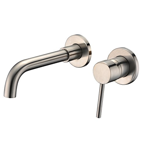 Sumerain Wall Mount Bathroom Faucet Nickel Brushed,Single Handle with Brass Rough-in Valve ()